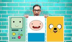 Adventure Time Jake Finn BMO Set of 3 Art Work - Wall Art Print Poster 16 x11 Inch -  Quote Art Geekery
