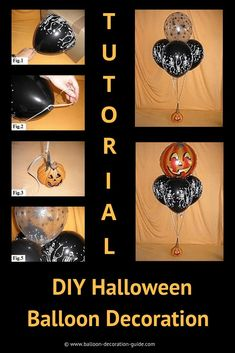 DIY Halloween Decoration with Balloons DIY Halloween Balloon Decorations Transparent Balloons, Black Balloons, Printed Balloons, Latex Balloons, Halloween Balloons, Halloween Party Themes, Diy Halloween Decorations, Halloween Diy, Masquerade Centerpieces