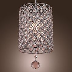 SL®++Crystal+Drop+Pendant+Light+in+Cylinder+Style+–+CAD+$+55.59