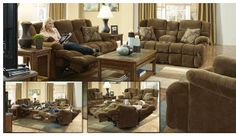 Catnapper Power Recline Concord Lay Out Reclining Sofa and Love Seat 61421/61429