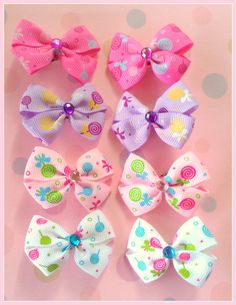 Lollipop Bitsy Bows 4 pairs by Flowers4Emily on Etsy
