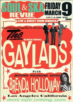 The Gaylads are a Jamaican vocal group. They were one of the top rocksteady vocal groups active in Jamaica between 1963 and Ska Music, Reggae Music, Dance Music, Concert Posters, Music Posters, Jamaican Music, Northern Soul, Vintage Music, Motown
