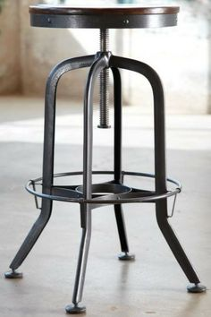 """industrial park stool $129 at Home Decorators 22""""w seat and adjustable from 24"""" to 34"""" black"""