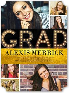 Marquee Lights 6x8 Stationery Card by Vanilla Print. Invite the guests to the celebration with stylish graduation invitations. Personalize with all the event details.