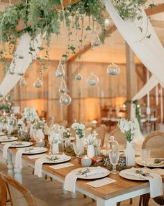 Romantic Barn Wedding Decorations ❤ barn wedding decorations hanging greenery in glass bubbles greenery on table the kreulichs #weddingforward #wedding #bride