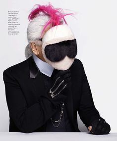 Karl Lagerfeld in 'Designers's Masked Intentions' for Harper's Bazaar US March 2015.