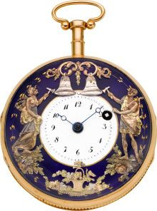 Swiss 18k Rose Gold And Enamel Quarter Hour Repeater With Automaton, circa 1820