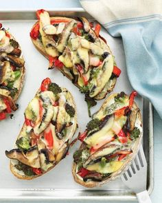 Portobello, Broccoli, and Red-Pepper Melts Recipe-- Make in under 30 Minutes