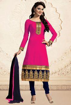 #Deep #Pink #Chanderi #Silk #Churidar #Salwar #Kameez #nikvik  #usa  #australia…