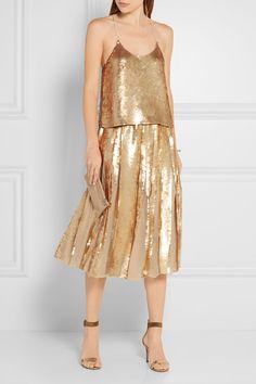 Gold sequined silk-georgette Slips on 100% silk; trim: 100% polyethylene; lining: 100% silk Spot clean  Imported