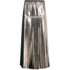 Stella McCartney Carmen Metallic Pleated Satin Skirt (13.838.605 IDR) ❤ liked on Polyvore featuring skirts, green, metallic skirt, stella mccartney, green skirt, gold metallic skirt and satin pleated skirt