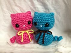 "Colorful Kitty Cat - Free Amigurumi Pattern - PDF File, Click ""download"" or ""free Ravelry download"" here: http://www.ravelry.com/patterns/library/crochet-colorful-kitty-cat-doll-toy"