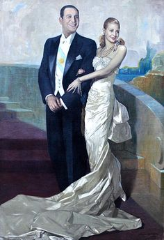 Official portrait of Argentine President Juan Peron with First Lady Eva Peron.