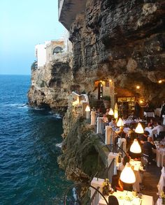 Hotel Ristorante Grotta Palazzese (Polignano a Mare, Italie - Pouilles) Italy Vacation, Vacation Destinations, Dream Vacations, Italy Travel, Vacation Spots, Vacation Places, Tourist Spots, Vacation Packages, Places To Travel