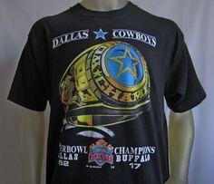 Vintage Dallas Cowboys Super Bowl XXVII 1993 Championship Ring T Shirt Size XL #FruitoftheLoom #DallasCowboys