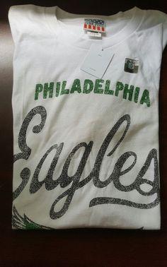 New Mens NFL Philadelphia Eagles Vintage Throwback Junk Food L White T Shirt  #JunkFood #Philadelphia #Eagles #deals #sports