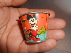 "Vintage Disney Mickey Mouse Tin Sand Pail Bucket 1 1/2"""