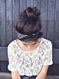 hair bun and bandana