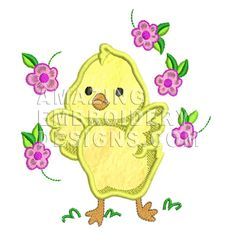 This free embroidery design is a chicken dancing in flowers.