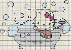 Grille gratuite point de croix : Hello Kitty prend son bain - Le blog de Isabelle