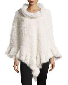 D10E4 La Fiorentina Knit Mink Fur Poncho w/Roll Collar, White