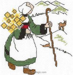 broderie au point de croix Bécassine à la montagne sur toile Aida en kit broderie de Princesse 7128 Ribbon Embroidery, Embroidery Designs, Cross Stitch For Kids, Doll Toys, Blackwork, Pixel Art, Cross Stitch Patterns, Folk Art, Needlework