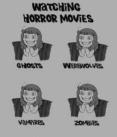 Horror movie reactions However, the zombies movies just a frown face unless it 28 weeks later movies or Resistance Evil movies.