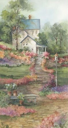 Carolyn Shores Wright ~ Spring 14 x 7 watercolor Watercolor Landscape, Watercolor Paintings, Watercolors, Storybook Cottage, Woodlands Cottage, Beautiful Paintings, Vintage Images, Art Pictures, Home Art