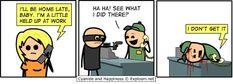 Cyanide and Happiness, a daily webcomic Dark Humor Jokes, Dark Jokes, Quick Jokes, Cyanide And Happiness Comics, Morbid Humor, Funny Comic Strips, Bad Timing, Funny Comics, Short Stories