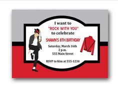 Michael Jackson Birthday Party Invitations by PartyConfettiDesigns, $8.00