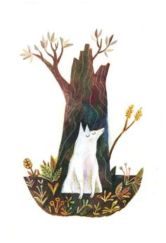 Wolf and Tree, a signed art print by Matt Forsythe