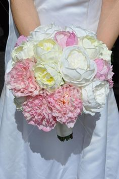 Gorgeous Artificial Fresh Touch Pink Fluffy Peony and Silk Ivory Peony Bridal Bouquet