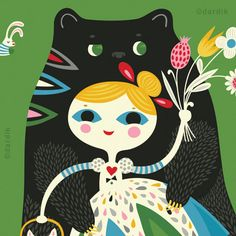 Goldie and the Bear Hugs limited edition giclee by helendardik