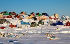 Aasiaat, Greenland. I love the snow and the colorful houses. So creative Greenland is.