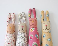 Fabric Bunny Plush Nursery Decoration by TheFoxintheAttic on Etsy... Fun bunnies!