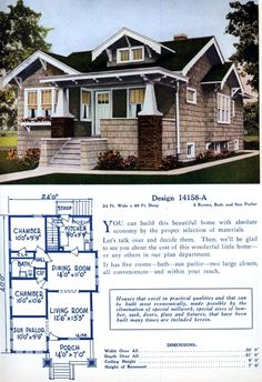 Mod The Sims - Vintage Home Design ~ 1 Story Craftsman Bungalow, in the Series Bungalow Floor Plans, Home Design Floor Plans, House Floor Plans, Craftsman Style Homes, Craftsman Bungalows, Craftsman House Plans, Vintage House Plans, Vintage Homes, American Home Design