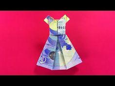 Geldschein falten Kleid - Brautkleid zum Geldgeschenke basteln zur Hochz...