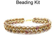 Beaded SuperDuo Maidenhair Fern Bracelet Downloadable Beading Pattern Tutorial Kit