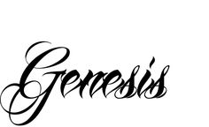 Tattoo Name Genesis using the font style Anha Queen Script