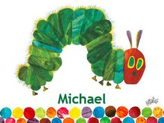"""""""Eric Carle's Very Hungry Caterpillar (TM)"""" personalized kids canvas wall art from the book Eric Carle's The Very Hungry Caterpillar with Oopsy Daisy, Fine Art for Kids"""