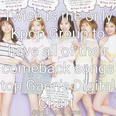 Twice is the only Kpop Group to have all of their comeback songs top Gaon's Digital Chart #momo #Jeongyeon #mina #sana #nayeon #jihyo #chaeyoung #tzuyu #dahyun #kpop #twice #트와이스 #girlgroup #Signal #지효 #모모 #나연 #미나 #사나 #정얀 #다현 #채영 #쯔위 #LikeOohAhh #CheerUp #TT #KnockKnock