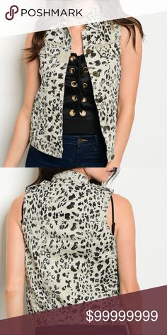 Sleeveless Animal Print Vest Sleeveless Animal Print Vest with button front closures   100% Cotton Other
