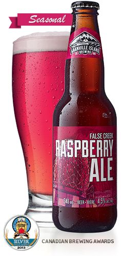 Granville Island Brewing | False Creek Raspberry Ale-FOOD PAIRINGS Crisp and clean. Goes well with salads, particularly crisp greens with light fresh dressings. Perfect pairing: Plain chevre on crackers or smoked chicken topped spring greens with walnuts and blue cheese.