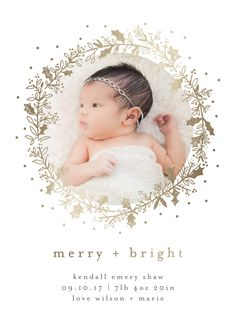 """Holiday birth announcement with gold foil wreath detail. """"Holly Jolly and Bright"""" by Minted artist, Bethan."""