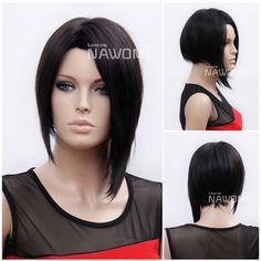 Free Shipping NAWOMI Wig 100% KANEKALON Female  Black Straight Short Rihanna Hair Wigs