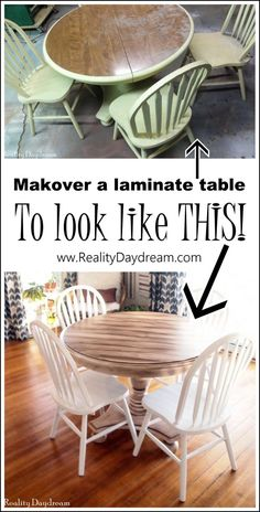 Faux Planked Table Transformation Looking for a way to freshen up that old table? Check out this awesome faux planked table transformation! Full tutorial for using white paint and stain. Painting Laminate Table, Laminate Table Top, Refinishing Kitchen Tables, Refinished Table, Furniture Refinishing, Dresser Refinish, Furniture Removal, Painted Table Tops, Painted Kitchen Tables