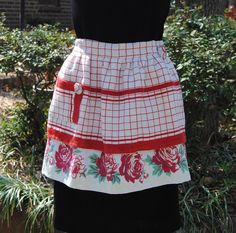 ScrapHappy Red and White Vintage Table Cloth by RescuedOfferings, $31.00