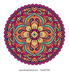 Vector round abstract circle. Mandala style.