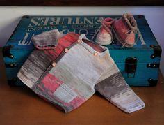 layette ensemble 3 mois brassière et chaussons neuf tricoté main