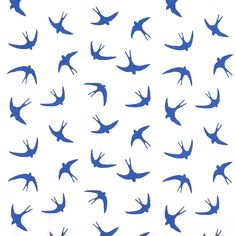 Swallows Print 100% Cotton Fabric Blue 112cm
